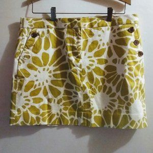 Women's J Crew Mini Skirt. Size 12. yellow & white